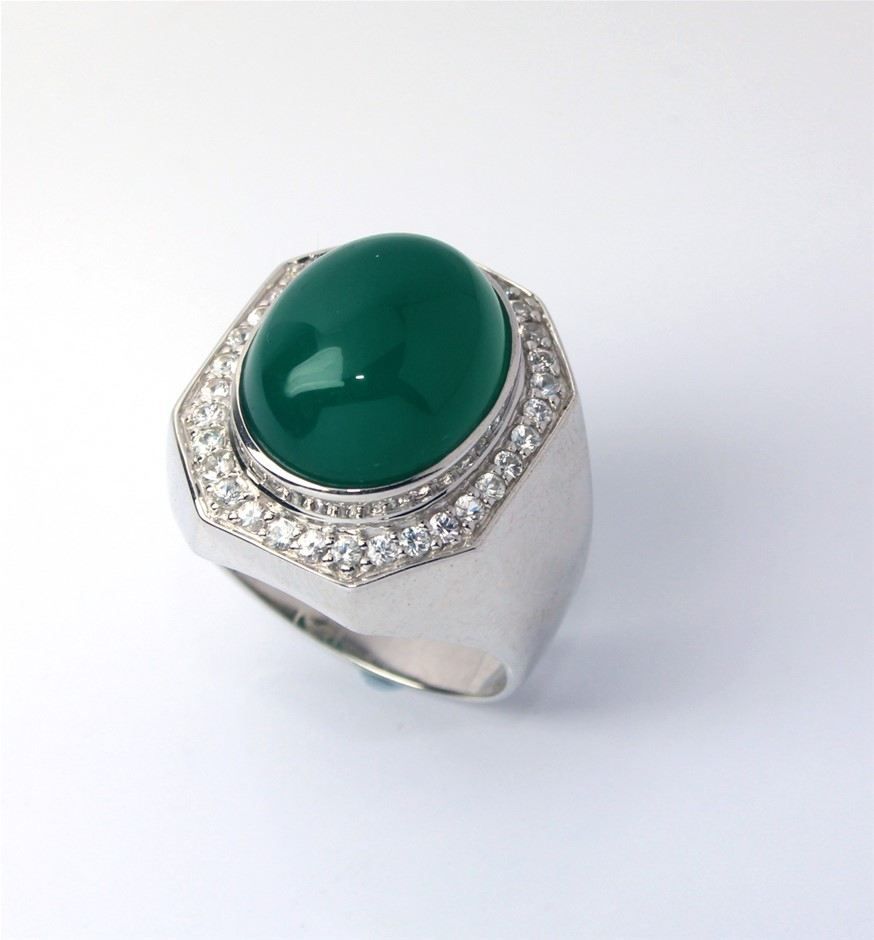 Mens huge 925 Sterling silver dyed green chalcdony ring S 1/2 12.4 Grams