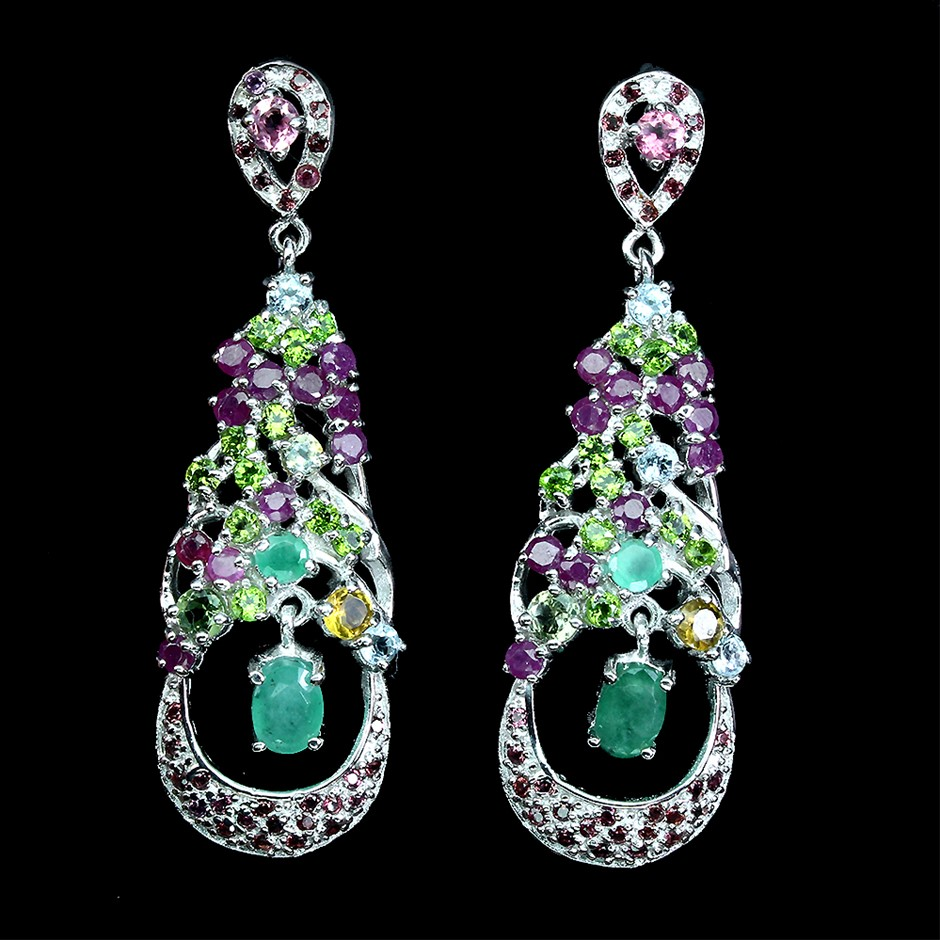 Gorgeous Genuine Emerald, Aquamarine & Ruby Drop Earrings