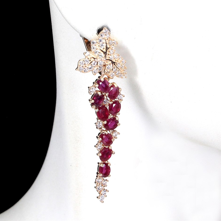 Stunning Genuine Ruby Drop Earrings