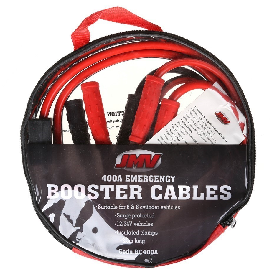 JMV 400amp Booster Cable 2.5M c/w Fully Insulated Alligator Clips & Surge P