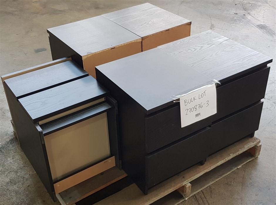 Qty 5 x 2 Drawer Under Bench Office Storage Cabinet