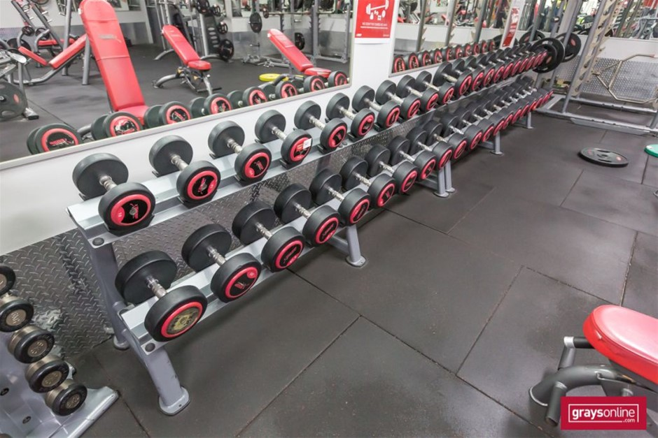 Snap Fitness Set of Fixed Dumbbells and Storage Rack