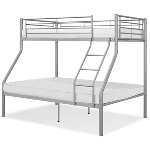 Twin Over Double Bunk Bed Metal W Mattresses And Ladder Silver