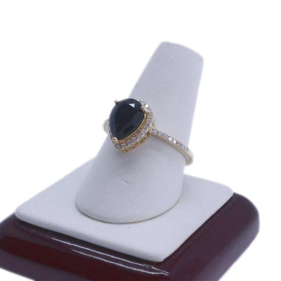 9ct Yellow Gold, 1.92ct Blue Sapphire and Diamond Ring