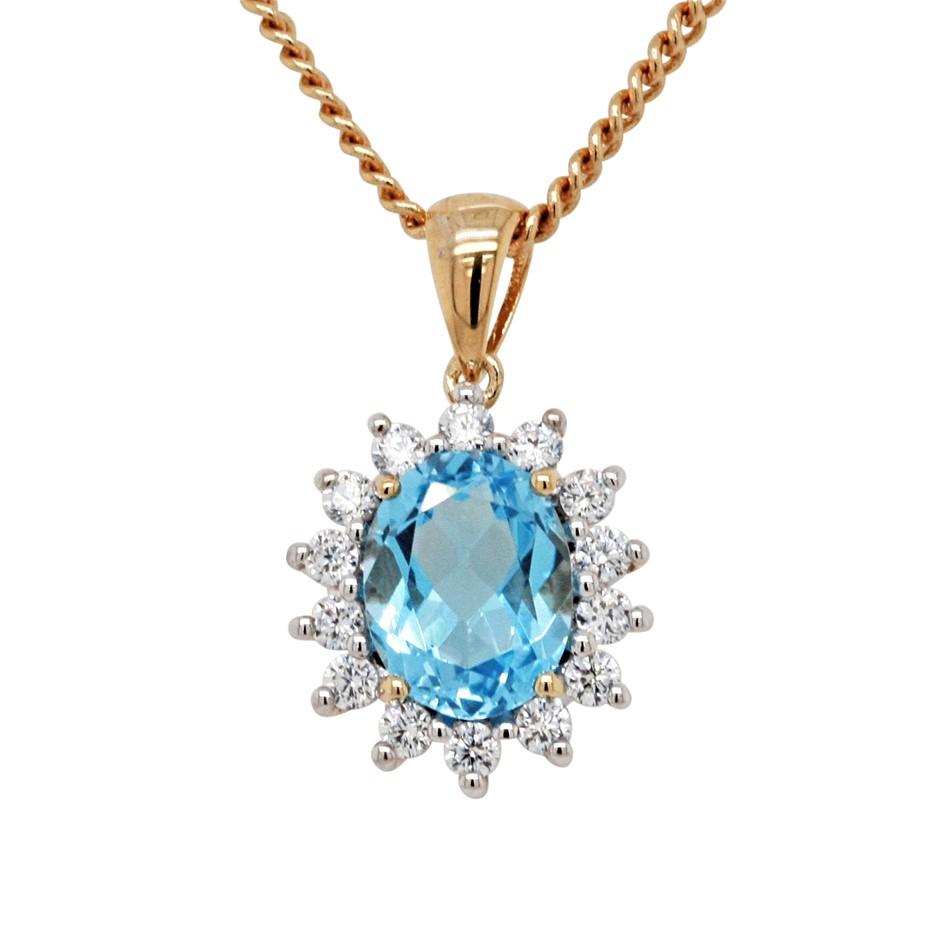 Ladies Swiss Blue Topaz, CZ & Gold Vermeil Pendant