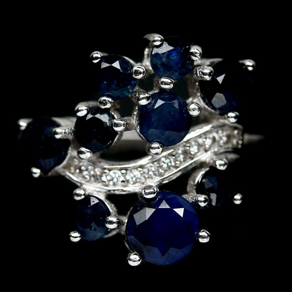 Genuine Sapphire Cluster Ring