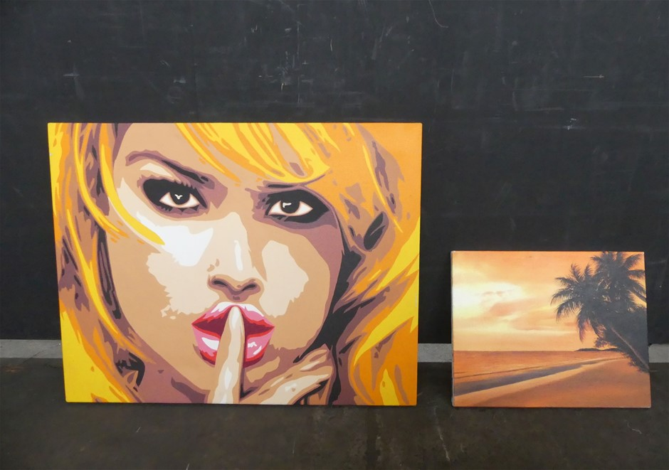 Assorted 2 x Assorted Paintings On Canvas, Shhhh Face And Palm Tree