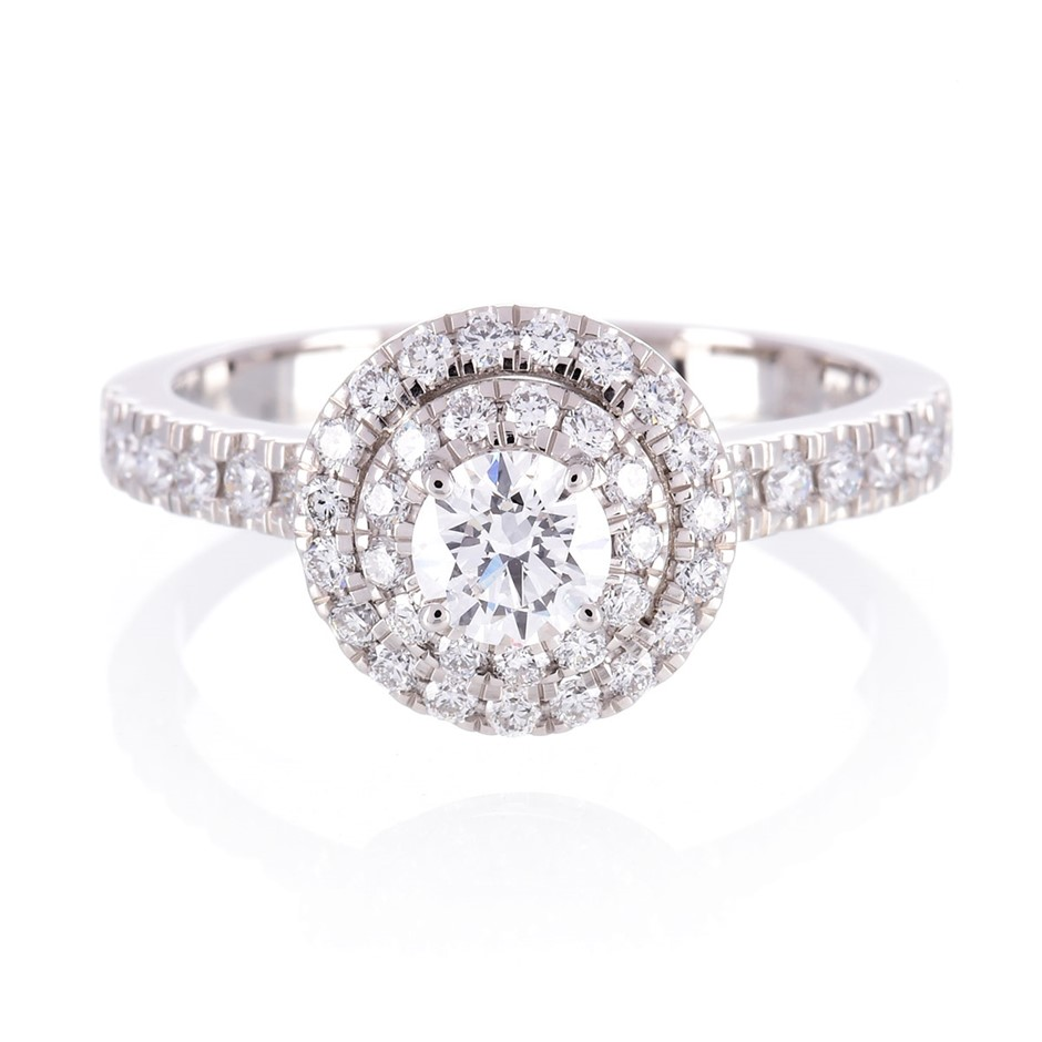 ERV $7080 - Platinum double Halo engagment ring TDW=1.04ct