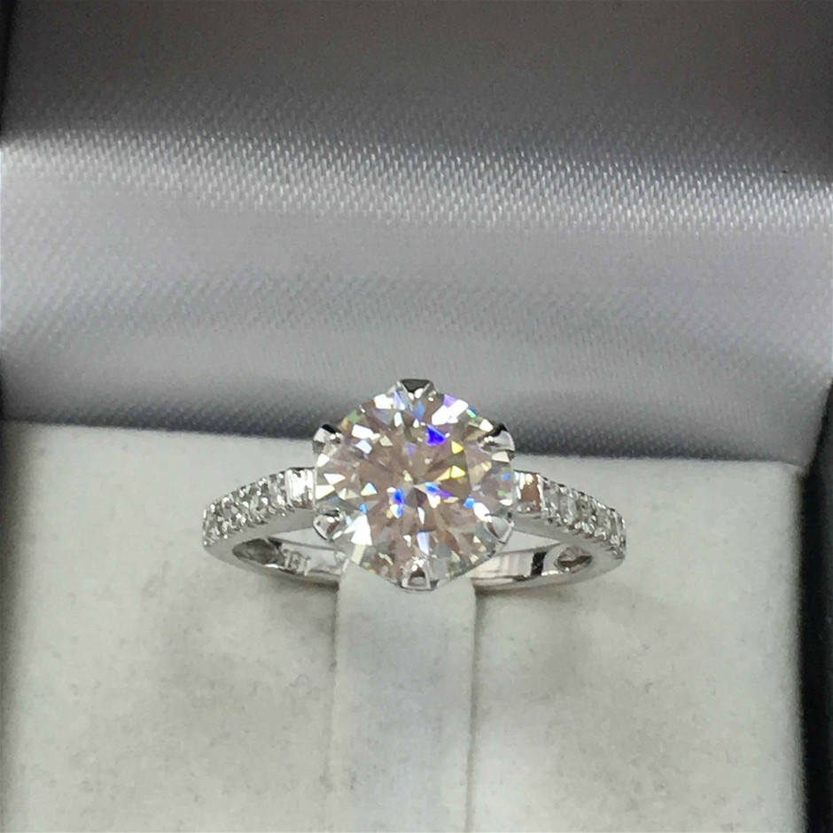 18ct White Gold, 2.15ct Moissanite and Diamond Engagement Ring