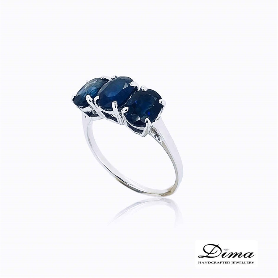 18ct White Gold, 3.42ct Blue Sapphire Ring
