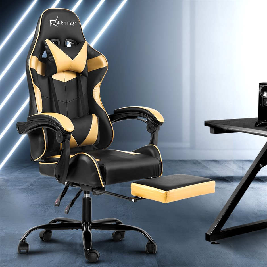 Artiss Office Chair Gaming Chair PU Leather Seat Armrest Black Golden