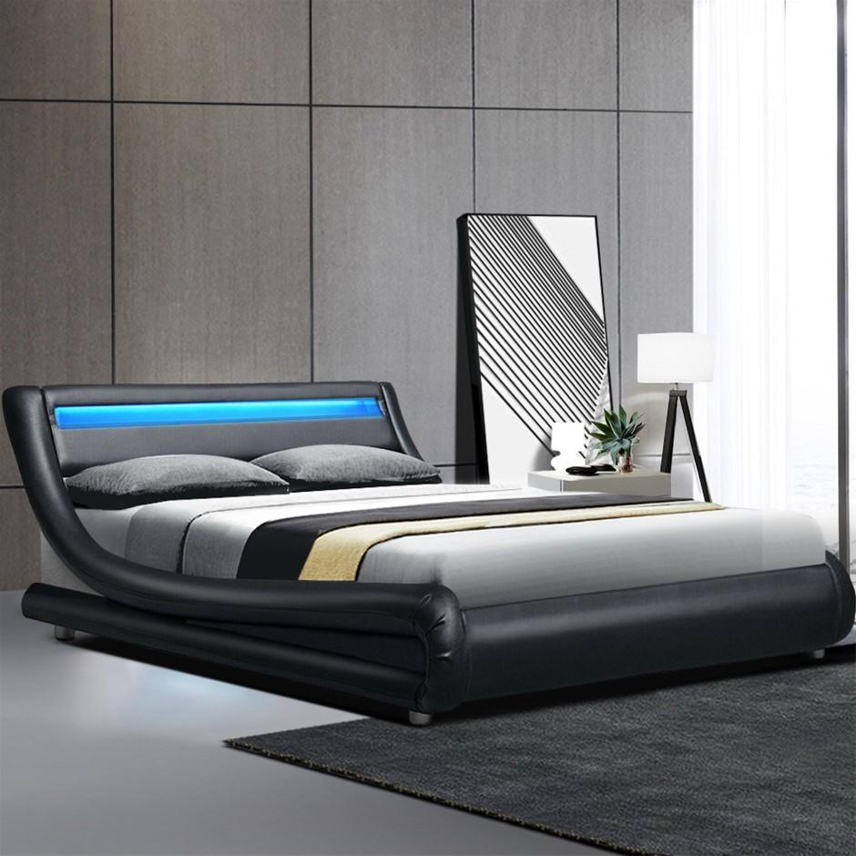 Artiss LED Bed Frame Queen Base Mattress Platform Black Leather Wooden