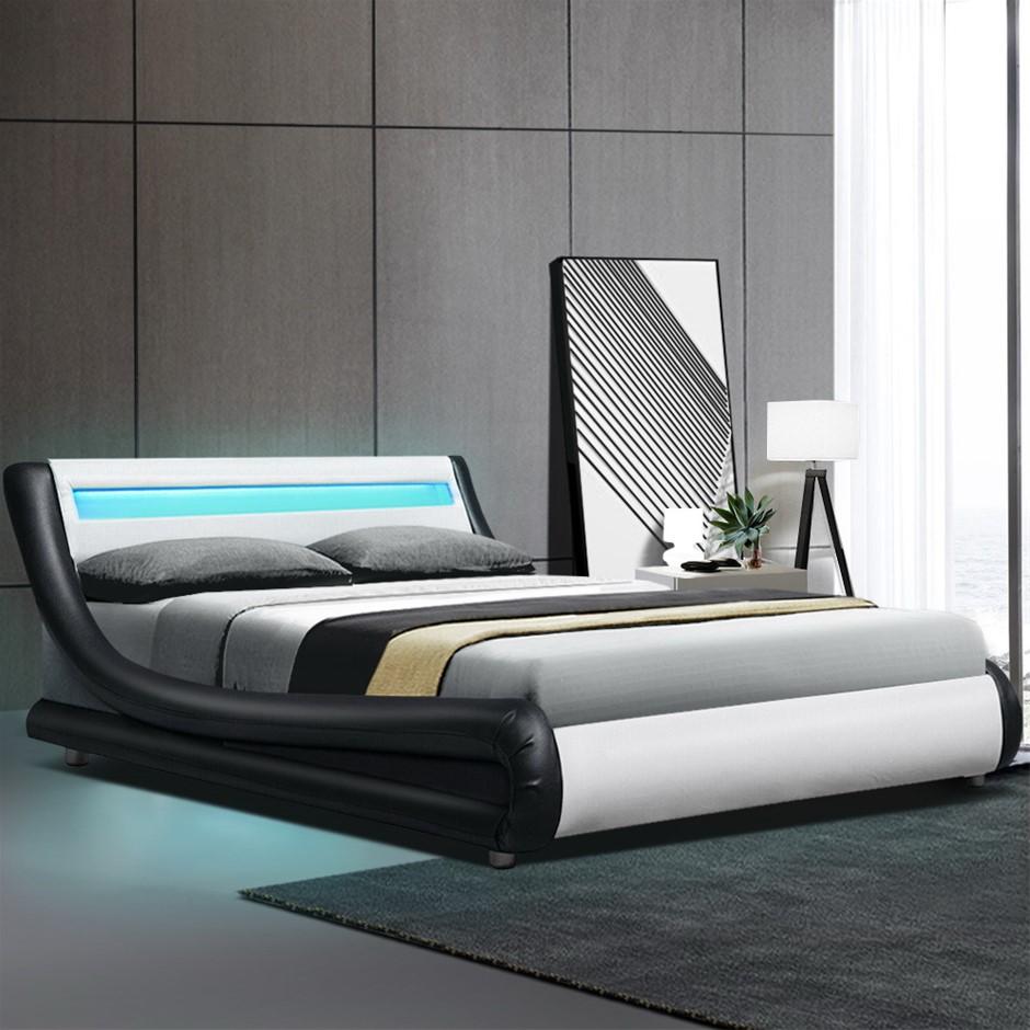 Artiss LED Bed Frame Queen Size Base Mattress Platform Leather Wooden ALEX