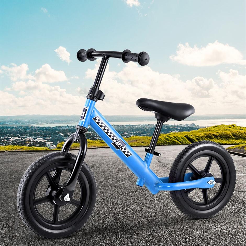"""Kids Balance Bike Ride On Toys Bicycle Wheels Toddler Baby 12"""" Bikes Blue"""