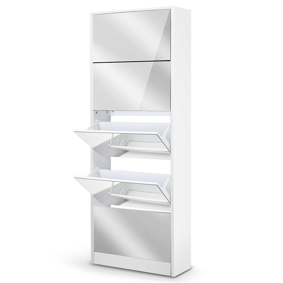 Artiss Shoe Cabinet Mirror Organiser Storage Rack White Cupboard Shelf