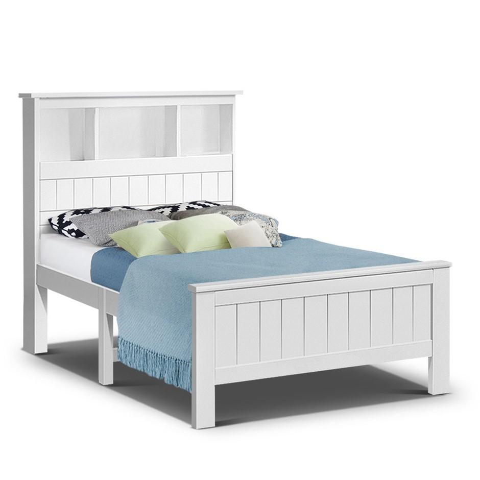 Artiss King Single Bookshelf Bed Frame - White