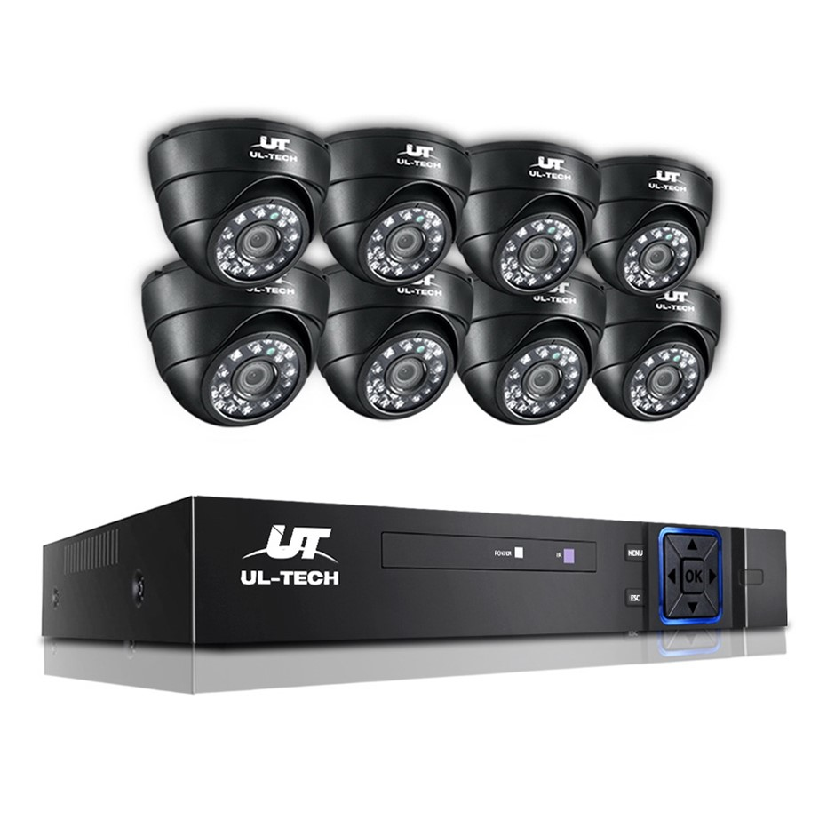 ULtech CCTV Camera Home Security System 8CH DVR 1080P IP 8 Dome Long Range