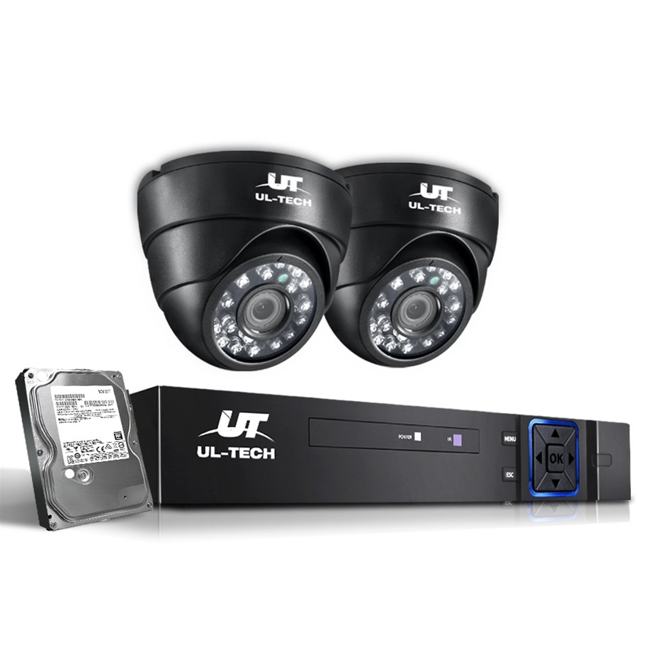 ULtech 1080P CCTV Security System 2 Dome Camera Home HD IP 2MP 1TB
