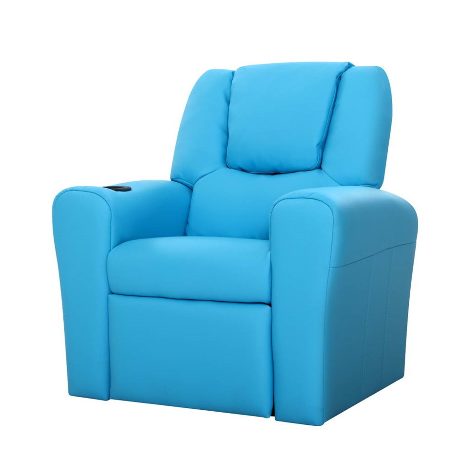 Keezi Luxury Kids Recliner Sofa Lounge Chair PU Couch Armchair Blue