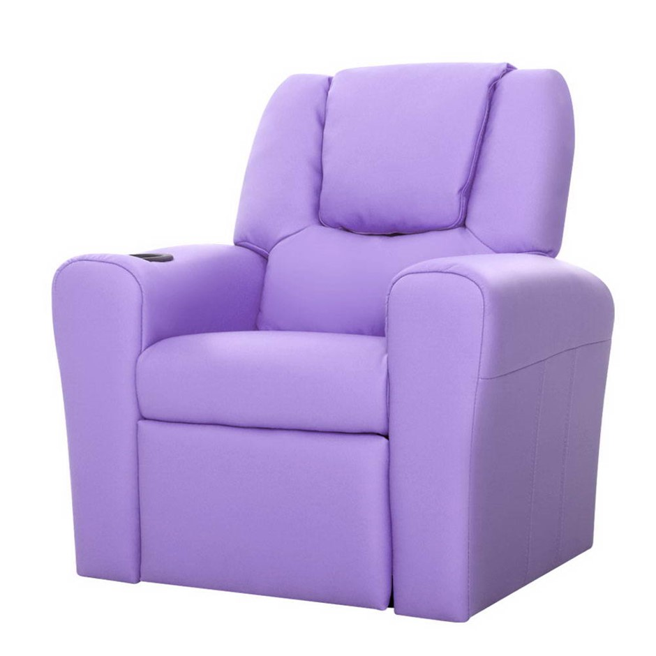 Keezi Luxury Kids Recliner Sofa Lounge Chair PU Couch Armchair Purple