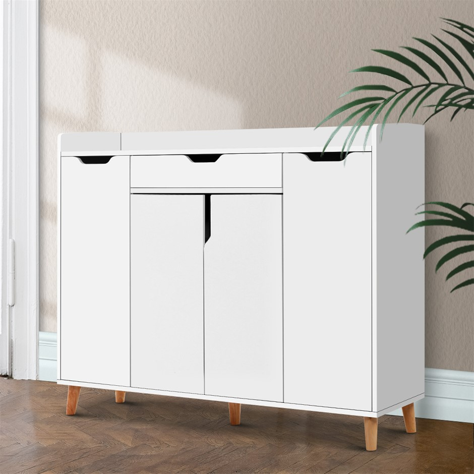 Artiss Shoe Cabinet Storage Rack 120cm Organiser White Drawer Cupboard