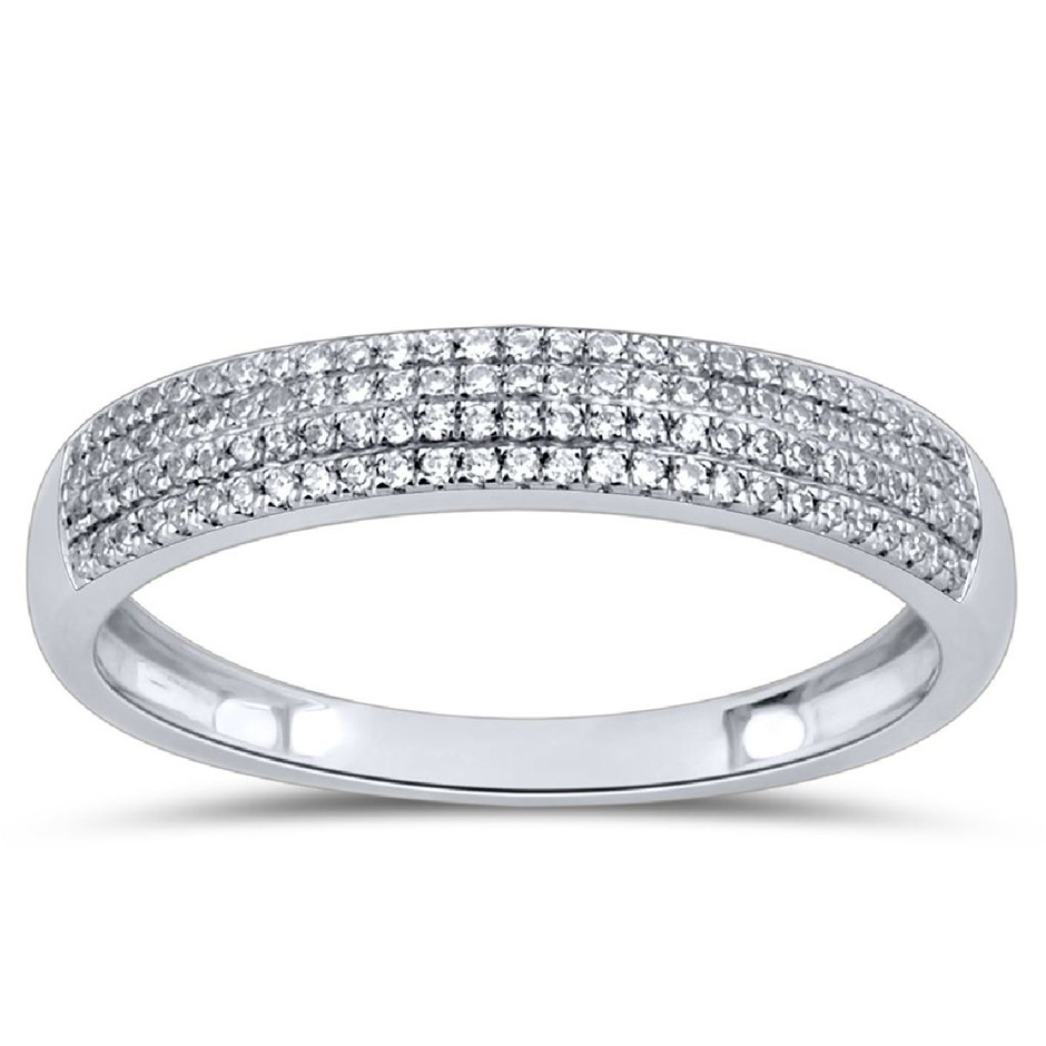9ct White Gold, 0.16ct Diamond Ring