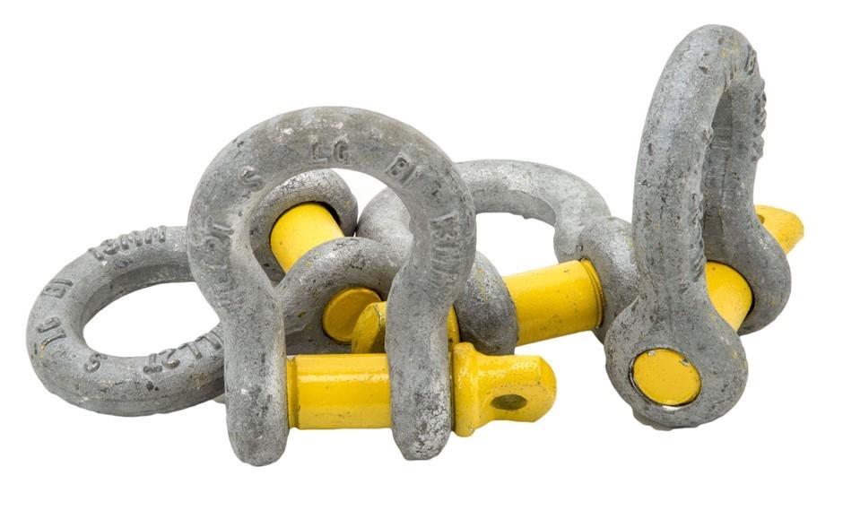 10 x Bow Shackles, WLL 2T, Screw Pin Type, Grade S, Yellow Pin. (SN:BS-2-K1