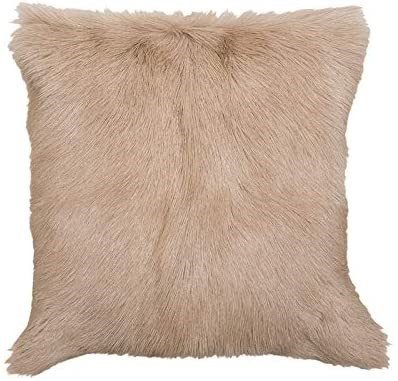 BAMBURY Thea Square Cushion, Fawn. Front: 100% Goat`s Fur; Reverse Faux Sue