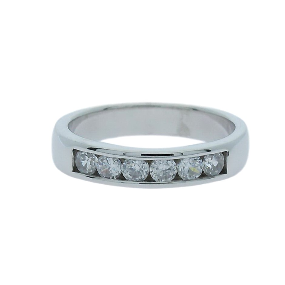 0.60 Carat sterling silver channel set band