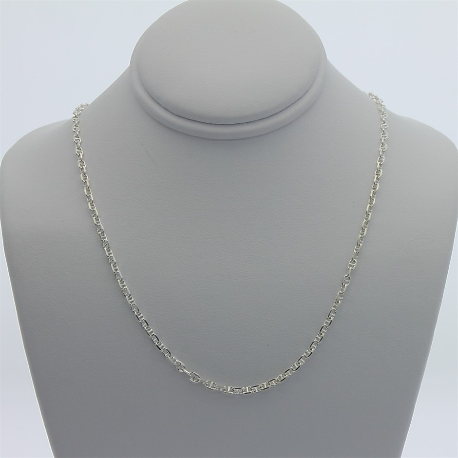 Genuine Sterling Silver double anchor chain necklace 45 cm