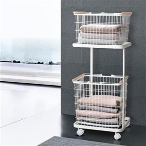 2 Tier Wire Storage Shelf Laundry Basket