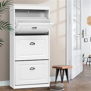 Shoe Cabinet Storage Rack White Organise