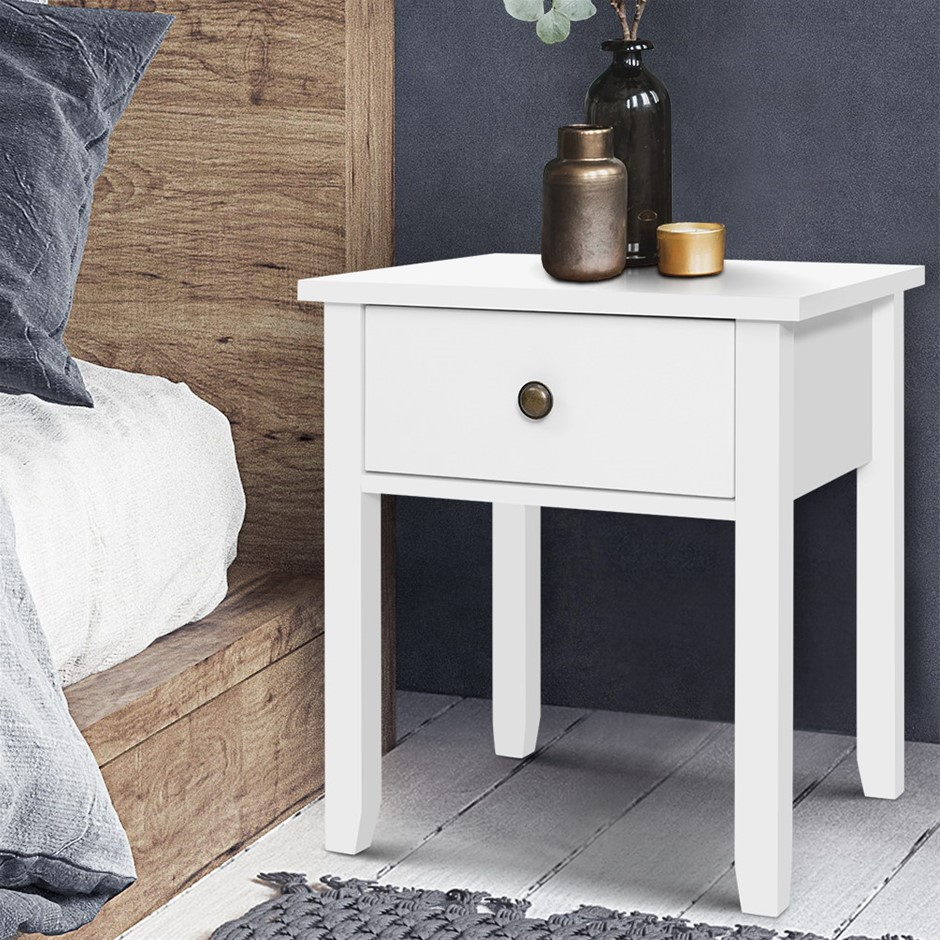 Bedside Tables Drawer Side Table Nightstand White Storage Cabinet Lamp