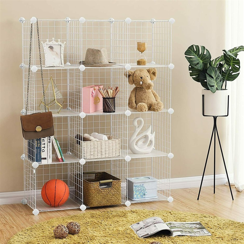 12 Cube Wire Grid Organiser Bookcase Storage Cabinet Wardrobe Closet White
