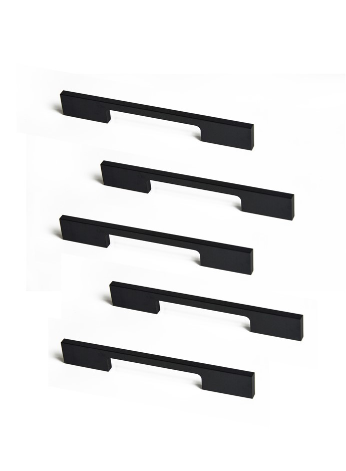 5 x 128mm Kitchen Handle Cabinet Cupboard Door Drawer Handles square Black