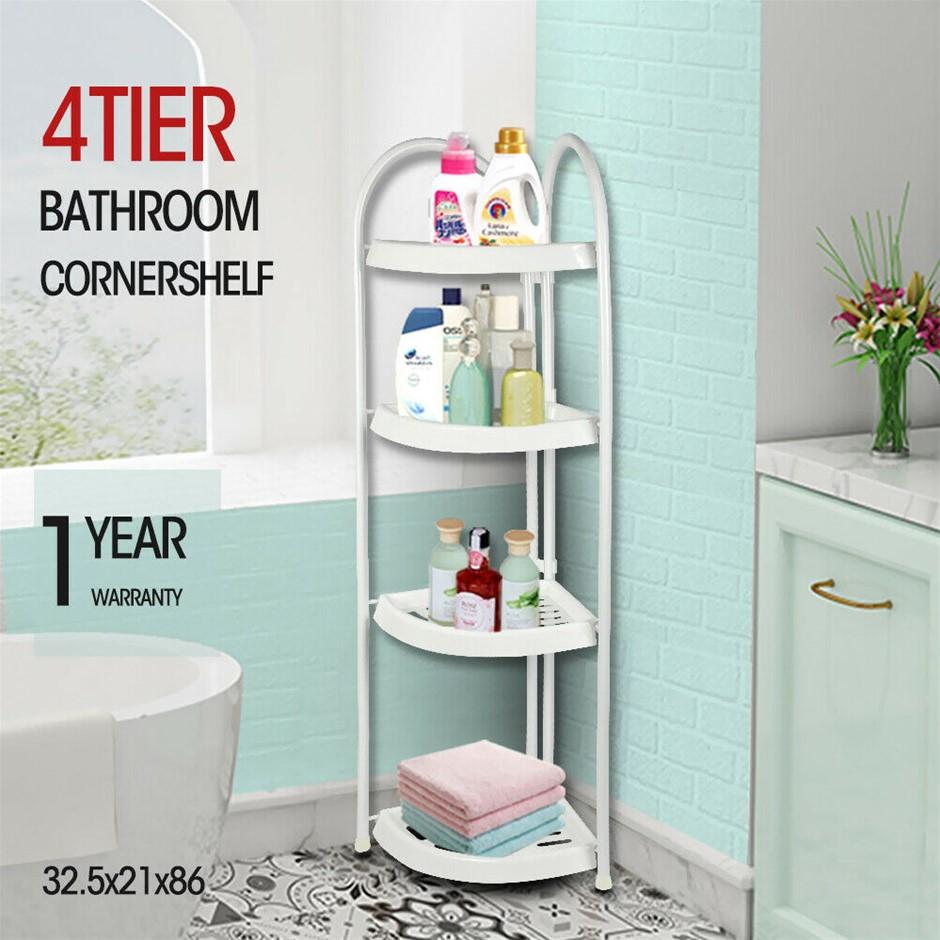 Shower Corner Shelf White Caddy Bathroom Shelves Organiser Storage Rack 4