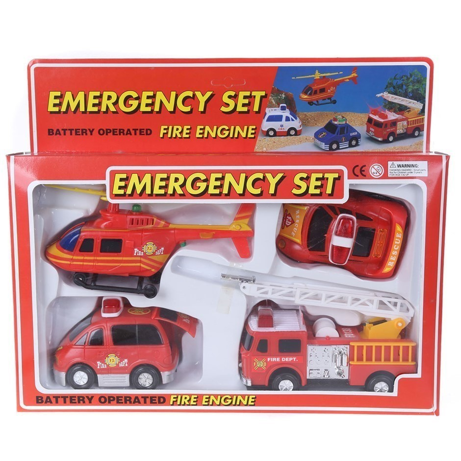 Emergency 4pc Toy Set with Battery Operated Fire Engine. (SN:ZFG00015) (272