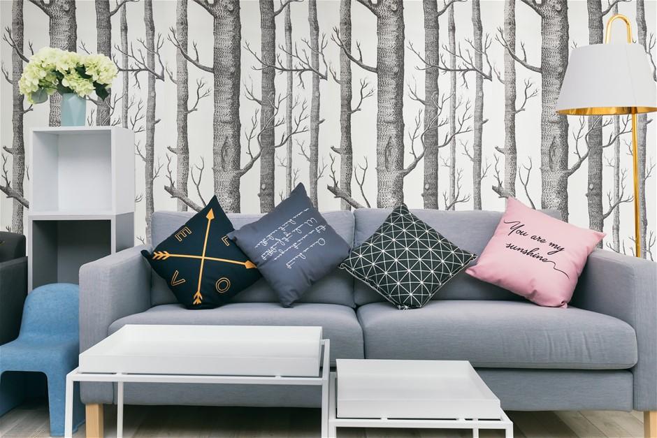Wallpaper White Birch Tree Non-woven Wall Paper Roll