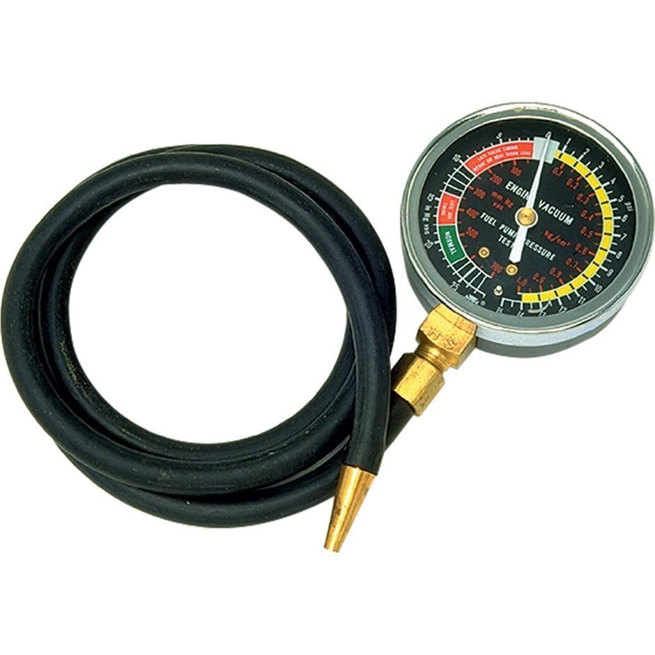 SIDCHROME vacuum Pressure Gauge, 1.2M Flex Hose, Range 0-14psi. Buyers Note