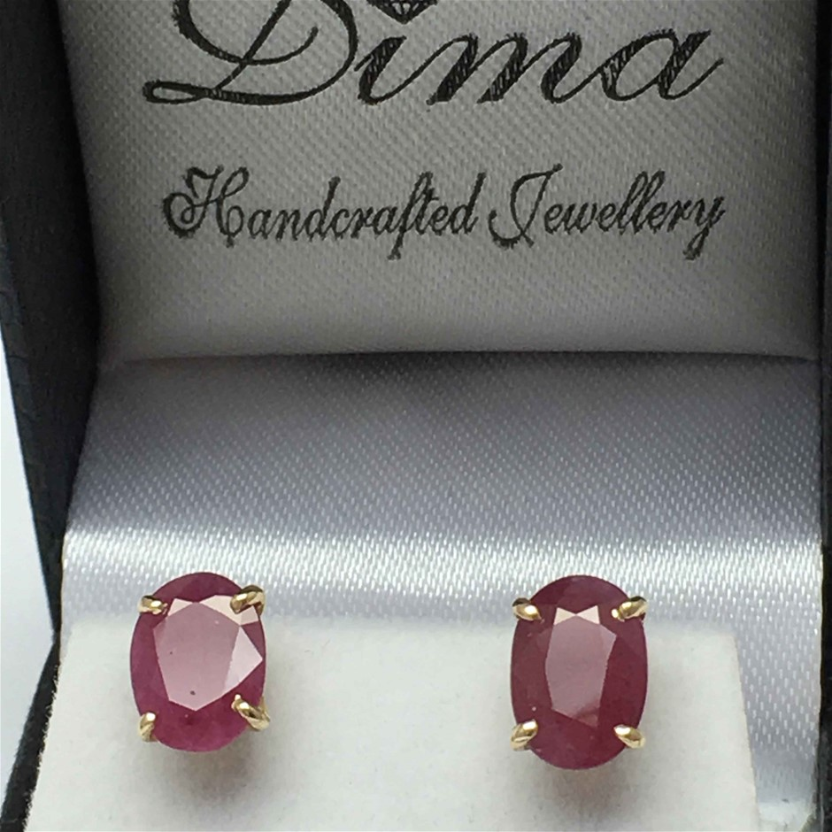 18ct Yellow Gold, 3.65ct Ruby Earring