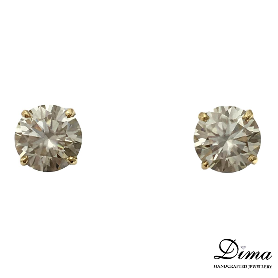 18ct Yellow Gold, 3.58ct Moissanite Earring