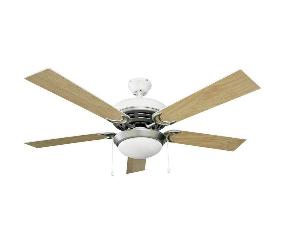 Heller 1300mm Ceiling Fan, 5 Blade Reversible, White Oak Light Destiny