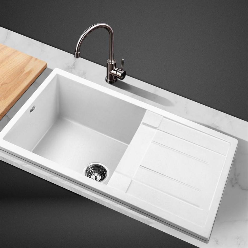 Cefito Kitchen Sink Granite Stone Laundry Top Undermount Single 860x500mm
