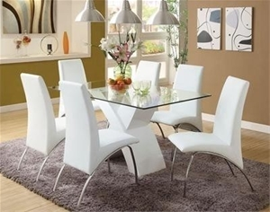 Retro Glass Top Dining Table Set With 6 Pu Leather Chairs White