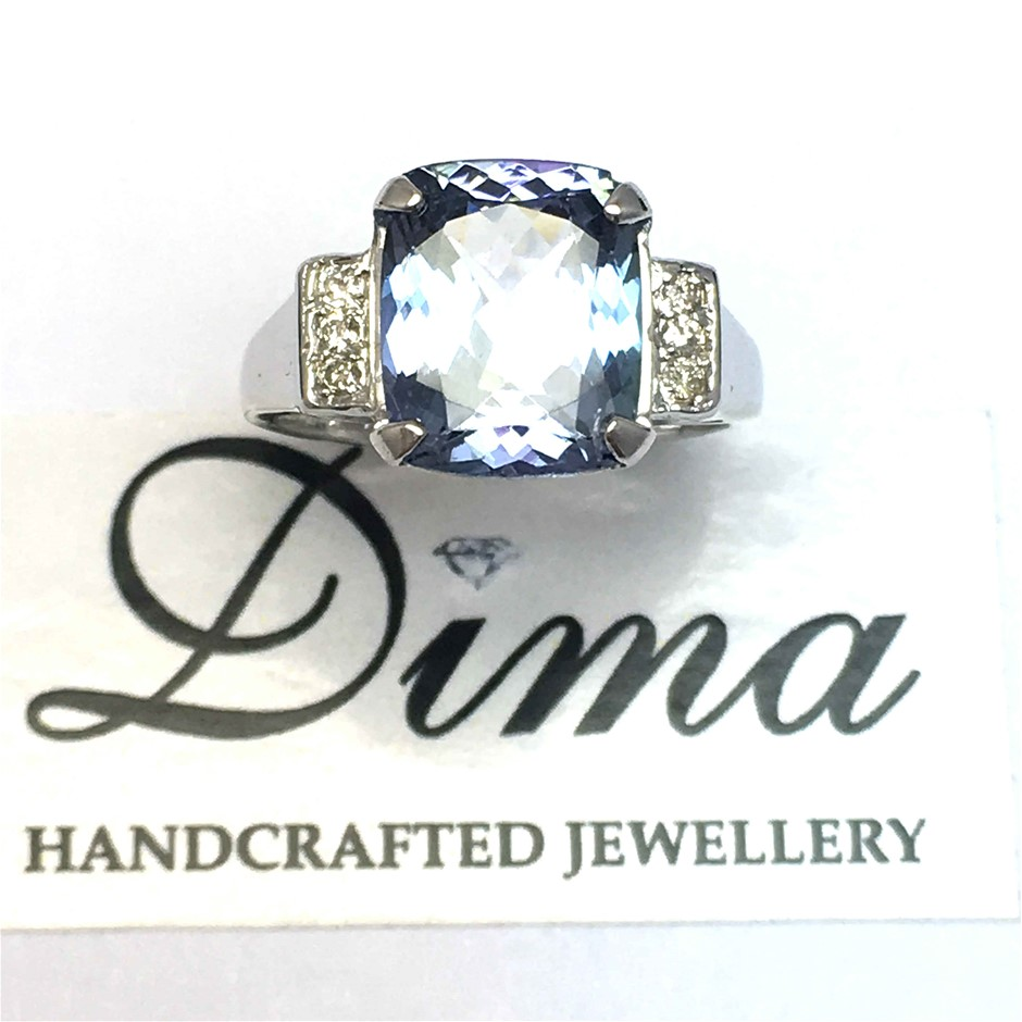 18ct White Gold, 3.85ct Tanzanite and Diamond Ring