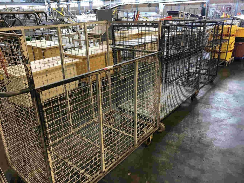 Qty 3x Mobile Cage Trolleys with Shelf Unit