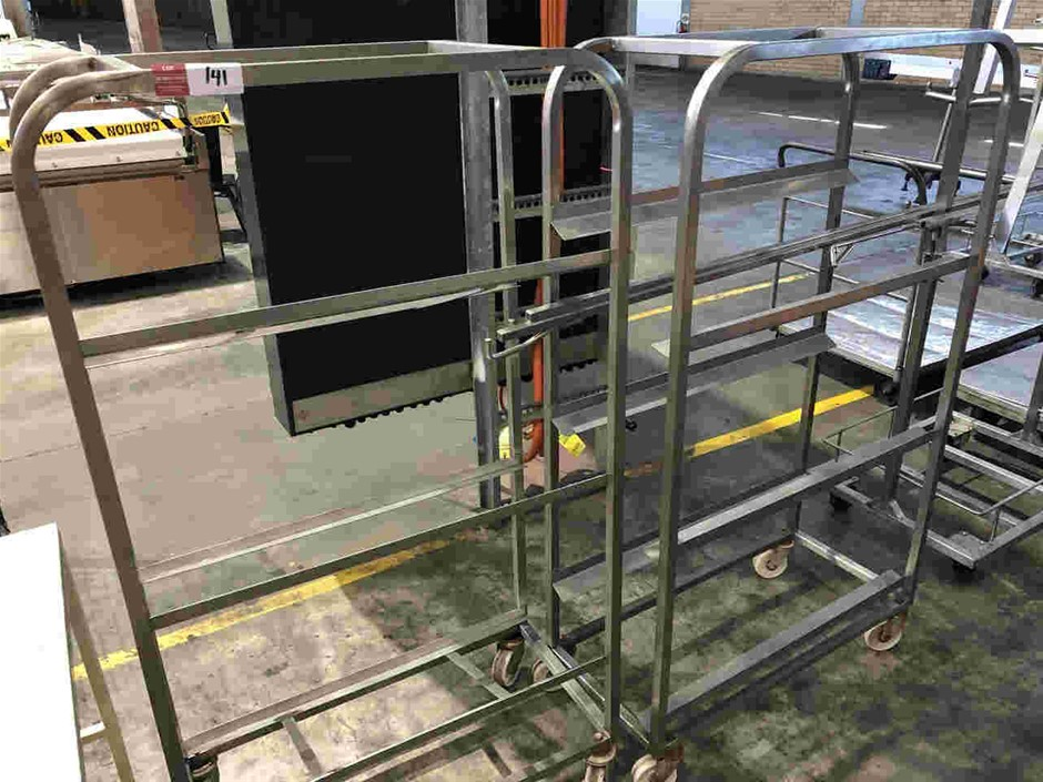 Qty 2x Mobile Stainless Steel Tray Racks