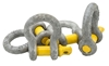 10 x Bow Shackles, WLL 2T, Screw Pin Type, Grade S, Yellow Pin. Buyers Note