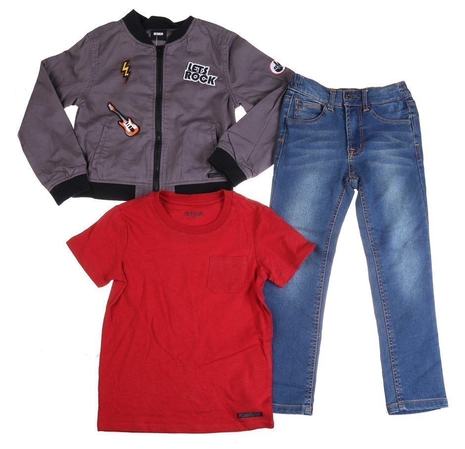 HUDSON Children`s 3pc Set , Size 6, Comprising of Rock Music Print Jacket,