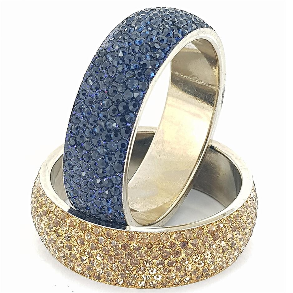Two Crystal Bangles. Dark Blue & Gold.